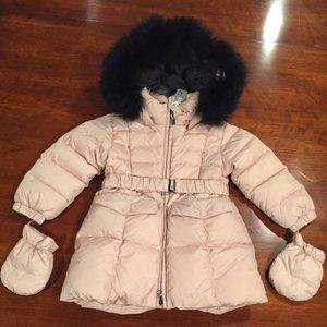 ADD DOWN*Pink w/ Black Fur Hooded COAT $353